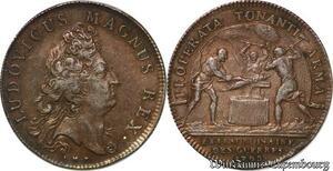 S6387 Rare Jeton Louis XIV Properta Tonanti armaGuees Argent Silver SUP