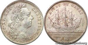 S6393 Jeton Token Louis XV Chambre CommerceLa Rochelle 1754 Argent SUP !