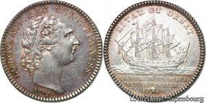 S6397 Portrait Jeton Louis XV Chambre CommerceLa Rochelle 1774 Argent SPL !