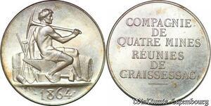 S6425 Rare Jeton Token Mines Graissessac Hérault 1864 Argent 500 ex. FDC !