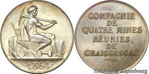 S6426 Rare Jeton Token Mines Graissessac Hérault 1864 Argent 500 ex. FDC !