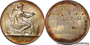 S6432 Rare Jeton Token Mines Graissessac Hérault 1864 Argent 500 ex. FDC !