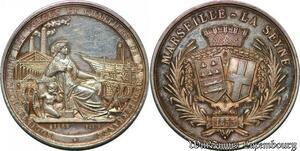 S6433 Médaille 2e Empire Napoléon III Méditeanée Marseille 1855 Argent SPL