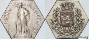 S6489 Jeton Chambre CommerCebourges Jacques Coeur Bigot Argent Silver