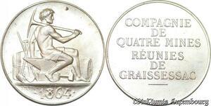 S6494 Rare Jeton Token Mines Graissessac Hérault 1864 Argent 500 ex. FDC !