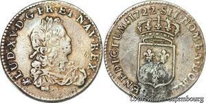 S6504 Rare Louis XV 1715-1774 1/3 d'écu de France 1722 T Nantes Argent Silver