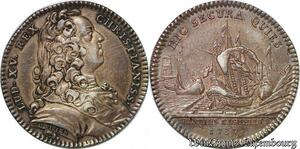 S6514 Rare Jeton Louis XV Parties Casuelles Hic Secura Duviver 1737 Argent