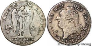 S6527 Constitution 15 sols type Francois 1791 I Limoges 2ème sem Argent
