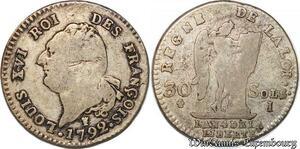 S6529 Royale 30 Sols Louis XVI 1792 I Limoges Argent Silver ->Faire Offre