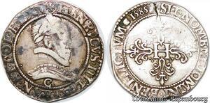 S6536 Très Rare R Henri III Francau col plat 1585 C Saint-Lô Argent Silver