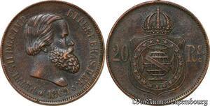 S6546 Brasil 20 Reis Brazil Petrus II 1869 SUP ->Faire Offre