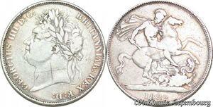 S6561 UK Great Britian Crown 1822 KING GeorgeIV Silver Tertio Edge