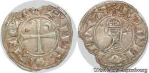 S6592 Rare Principauté Antioche Bohémond III denI Argent Silver SUP