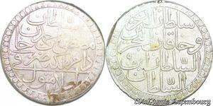 S6626 Turkey 2 Zolota 1171 AH/9 60 Para Mustafa III 1757 1774 Silver AU SUP