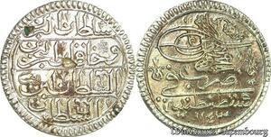S6637 Turkey Yirmilik 1143/9 Mahmud I Constantinople Silver AU ! superbe