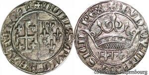 S6702 Provence comté de Louis II gros ou sol coronat Argent