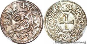 S6715 Rare ! Eudes, denI, Limoges, X siècle Argent Silver superbe